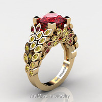 Art Masters Nature Inspired 14K Yellow Gold 3.0 Ct Rubies Yellow Sapphire Engagement Ring Wedding Ring R299-14KYGYSR
