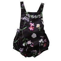 Lovely Toddler Baby Girls Sunsuit Lace Floral Black Romper Outfits Set Clothes 0-24M