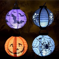 10pcs/lot Halloween Prop Pumpkin Spider Bat Skeleton Paper Lantern Portable With LED Light 20*20cm For Party Decorations