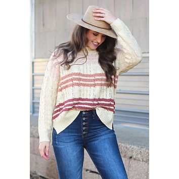 Autumn Vibes Cable Knit Striped Sweater {Beige Mix}