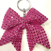 Cheer Bow - Hot Pink Rhinestone Bling Keychain Holders Ribbon Dance