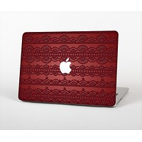 "The Dark Red Highlighted Lace Pattern Skin Set for the Apple MacBook Pro 13"" with Retina Display"