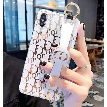 DIOR Fashion New More Letter Print Women Men Wrist Band Protective Cover Phone Case