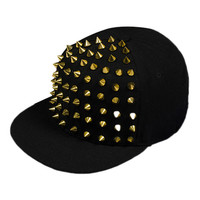 ROMWE Riveted Cool Baseball Black Cap