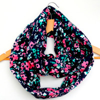 Spring Blossom Jersey Knit Infinity Scarf- Double Wrap, Long, Different Ways to Wear, Trendy and Modern