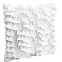 Decorative pillow in White Satin with Ruffles- Bed pillow - Ruffle throw pillow - 18x18 pillow - Gift