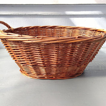 Large, Vintage, Wicker, Laundry Basket, Display Basket, Decorative Basket, Rustic Basket, Farmhouse, Country, Home Decor, RhymeswithDaughter