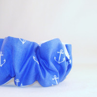 80s Hair Scrunchies Blue  with White Anchors Reversible with White on Backside 80s hair accessory