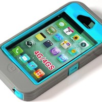 myLife Gray + Sky Blue Urban Armor (Built In Screen Protector) Hybrid Toughsuit Case for iPhone 4/4S (4G) 4th Generation Touch Phone (Thick Silicone Outer Shockproof Gel + Tough Rubberized Internal Shell)