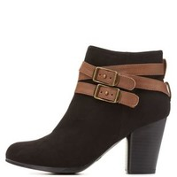 Qupid Belted Chunky Heel Booties by Charlotte Russe