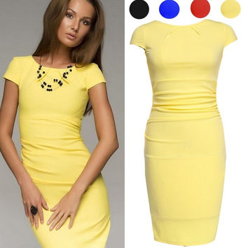 Women Midi Summer Style Dress Short Sleeve Knee Length Office Ladies Pencil Dress Wrinkle Bodycon Casual = 1956737860
