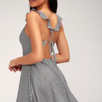 Alviso Black and White Gingham Backless Skater Dress