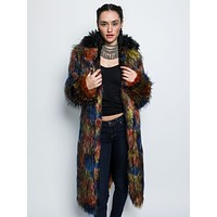 Parrot Faux Fur Calf Length Coat *Unisex*