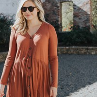 Button Front Knit Dress, Rust