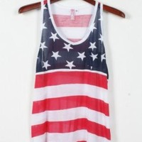 American Flag Print Tank Tops for Summer