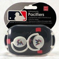 Miami Marlins MLB (Baby Fanatic) Infant PACIFIER Set of 2 BPA Free