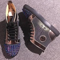 Christian Louboutin CL Lou Spikes Style #2201 Sneakers Fashion Shoes Online