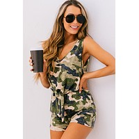 In Plain Sight Tie Waist Romper (Camouflage)