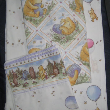 Classic Winnie the Pooh Disney Balloon Bees Honey Pot FULL Size Bed Sheet Set 4 Piece Flat Fitted Pillowcases Fabric USED Clean Kids Bedding