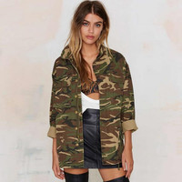 Women Vintage Military Camo Classic Padded Bomber Jacket Camouflage Coat Outwear
