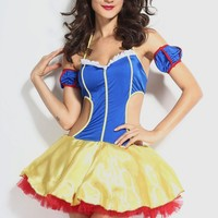 Fantasy Role-playing Snow White Costume Dress With Headwear  women clothing set sexy adult halloween costumes for women vestidos