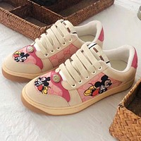 2020 Gucci Mickey Mouse Dirty Shoes Pink Beige