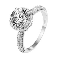 Solitaire Halo Wedding Ring .925 Sterling Silver Engagement Promise Round Cut