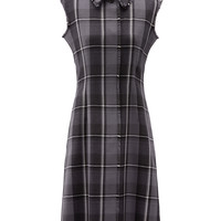 BAL COLLAR SMOCK DRESS WITH FRAYED EDGES IN MEDIUM GREY WOOL MADRAS | Thom Browne