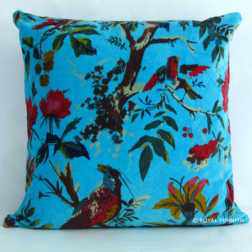 "16x16"" Turquoise Velvet Accent Pillow Case Sham Featurning Birds"