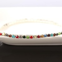 Rhinestone Stretch Glitzy Anklet For Woman In Three Color Choices for Woman or Teens Casual or Beach Wear