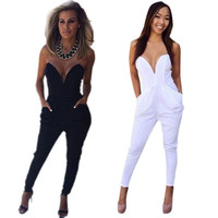 NEW Jumpsuit Womens Ladies V Neck Sleeveless Bodycon Rompers Trousers Clubwear SM6