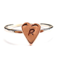 Heart Ring -Mixed Metal -Letter Ring-Monogram Ring - Stack Ring - Initial Ring-Stacking Ring-Mother Ring, Personalized Ring, Engraved Ring