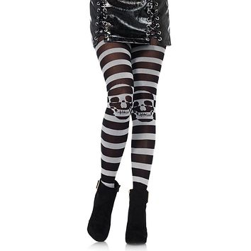 On The Other Side Black Grey Horizontal Stripe Pattern Skull Tights Stockings Hosiery