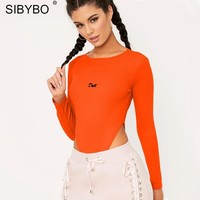 Sibybo Letter Print Skinny Sexy Women Bodysuit New Fashion Long Sleeve O-Neck Rompers Womens Jumpsuit Casual Bodysuit Women