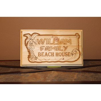 Personalized Family Beach House Wood Engraved Wall Plaque Art Sign