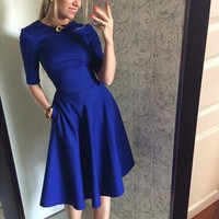 Blue Half Sleeve Waist Midi Dress