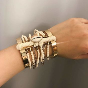 Bead & Chain Decor Double Layered Cuff Bracelet 1pc