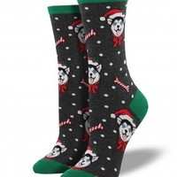Holiday Huskies Socks - Charcoal Heather