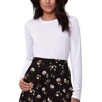 Kendall & Kylie Long Sleeve Cropped T-Shirt - Womens Tee - White