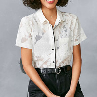 Cooperative Peacock Floral Mesh Button-Down Shirt - Urban Outfitters