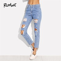 ROMWE Distressed Ankle Jeans 2018 Spring Blue Patch Ripped Denim Cropped Pants Women Mid Waist Sexy Casual Pencil Jeans