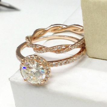 Moissanite Engagement Ring 14K Rose Gold,Diamond Wedding Ring Set!6.5mm Round Cut Moissanite,Twist curved Matching Band,Bridal ring,Halo