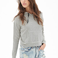 FOREVER 21 Striped Knit Cropped Hoodie