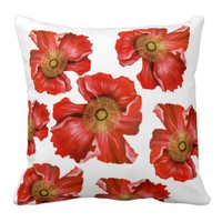Red Poppy Cushion Scatter Pillow Double-Sided
