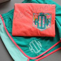 personalized running shorts and pocket tee, gym set, lilly pulitzer fabric comfort color