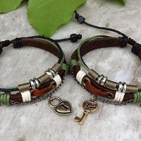 Couples bracelet, His and Hers Bracelets ,key lock sonalized Jewelry , his hers (Color: Green)