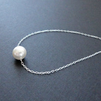 Silver single pearl necklace, Floating pearl necklace, Bridal pearl necklace, Bridesmaid gift, Valentines day jewelry, Simple everyday
