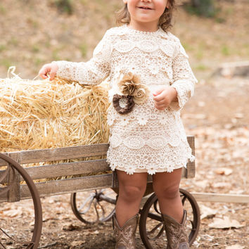 lace baby dress, flower girl dress, rustic lace dress, long sleeve dress, country lace dress, cream toddler dress, flower girl dresses, barn