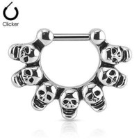 Linked Skulls Septum Clicker Ring 16ga 316L Surgical Steel Bar