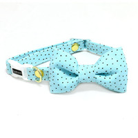 Sarah Cat Bow Tie Collar - Mint Green - Breakaway Safety Buckle - Sizes for Cat, Kitten, Dog